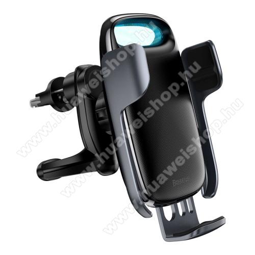 BASEUS Milky Way univerzális autós / gépkocsi tartó - szellőzőrácsra rögzíthető, infravörös érzékelő automatikusan nyit és zár, LED töltésjelző - 15W QI wireless vezetéknélküli funkció, gyorstöltés támogatás, fogadóegység nélkül! - FEKETE - GYÁRI