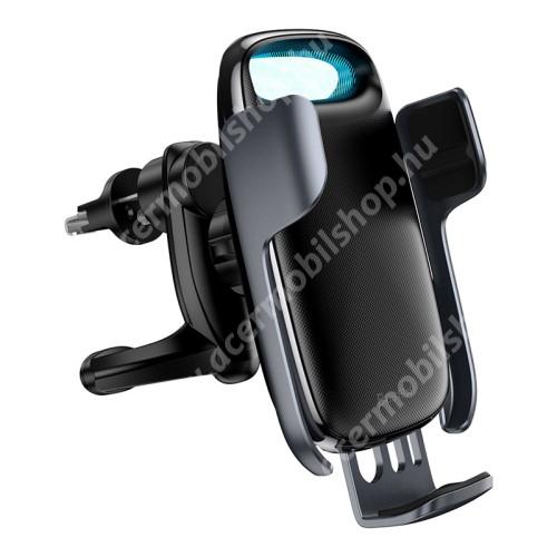 ACER Liquid Z3 BASEUS Milky Way univerzális autós / gépkocsi tartó - szellőzőrácsra rögzíthető, infravörös érzékelő automatikusan nyit és zár, LED töltésjelző - 15W QI wireless vezetéknélküli funkció, gyorstöltés támogatás, fogadóegység nélkül! - FEKETE - GYÁRI