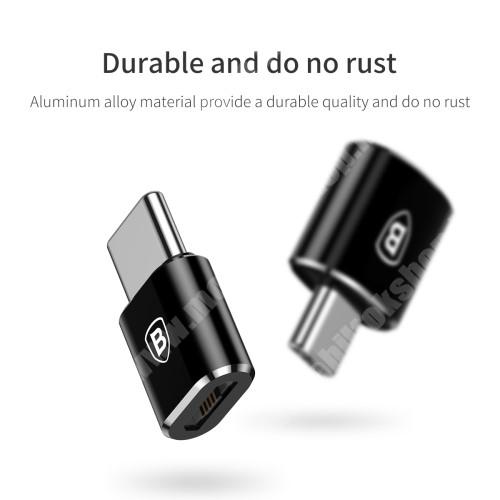 ALCATEL Flash (2017) BASEUS Mini adapter microUSB 2.0-át USB 3.1 Type C-re alakítja - 2,4A töltőáram és adatátvitelre képes - FEKETE - GYÁRI