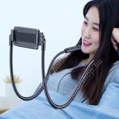 """HUAWEI Honor 10 BASEUS nyakba akasztható tartó / állvány - 360°-ban forgatható, állítható, asztali tartó, fejtámlához rögzítehető - 4-10""""-os készülékhez - FEKETE - GYÁRI"""