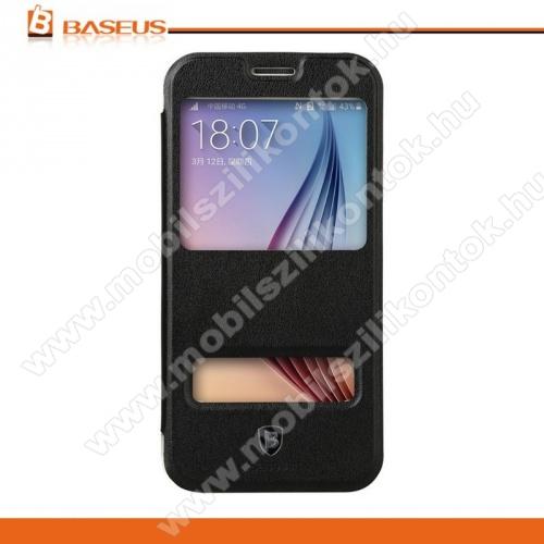 BASEUS Primary Color műanyag védő tok / hátlap - oldlara nyíló flip cover, hívószámkijelzés és hívásfelvétel - FEKETE - SAMSUNG SM-G920 Galaxy S6 - GYÁRI