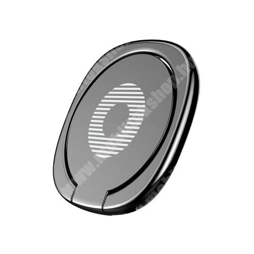 OnePlus 9 (EU/NA) BASEUS Privity ujjtámasz, gyűrű tartó - Biztos fogás készülékéhez, asztali tartó funkció, 180°-ban forgatható, tapadófelület mágneses autós tartóhoz - FEKETE - GYÁRI