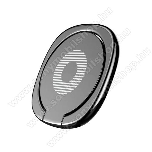 Sony Xperia XA1BASEUS Privity ujjtámasz, gyűrű tartó - Biztos fogás készülékéhez, asztali tartó funkció, 180°-ban forgatható, tapadófelület mágneses autós tartóhoz - FEKETE - GYÁRI