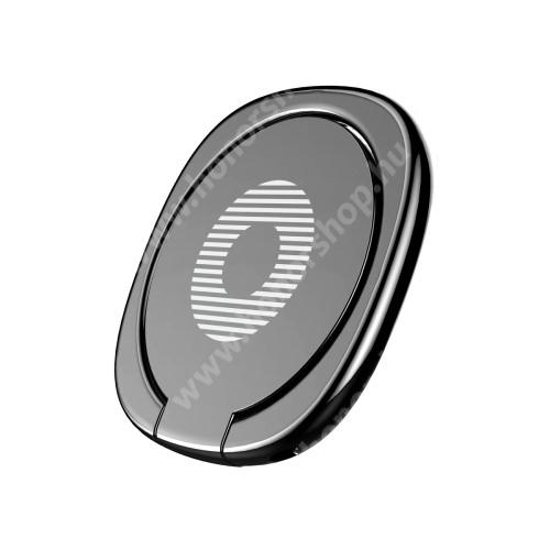 HUAWEI Honor V40 5G BASEUS Privity ujjtámasz, gyűrű tartó - Biztos fogás készülékéhez, asztali tartó funkció, 180°-ban forgatható, tapadófelület mágneses autós tartóhoz - FEKETE - GYÁRI