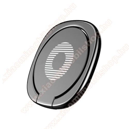 Xiaomi Poco X3 ProBASEUS Privity ujjtámasz, gyűrű tartó - Biztos fogás készülékéhez, asztali tartó funkció, 180°-ban forgatható, tapadófelület mágneses autós tartóhoz - FEKETE - GYÁRI
