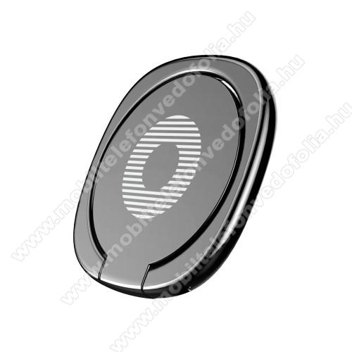 ZTE S30 SEBASEUS Privity ujjtámasz, gyűrű tartó - Biztos fogás készülékéhez, asztali tartó funkció, 180°-ban forgatható, tapadófelület mágneses autós tartóhoz - FEKETE - GYÁRI