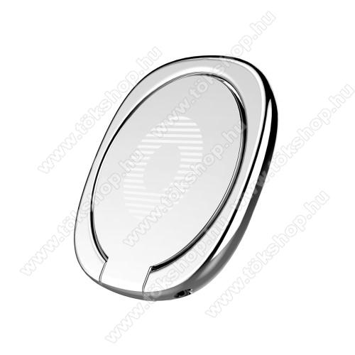 OnePlus 8T (KB2001)BASEUS Privity ujjtámasz, gyűrű tartó - Biztos fogás készülékéhez, asztali tartó funkció, 180°-ban forgatható, tapadófelület mágneses autós tartóhoz - EZÜST - GYÁRI