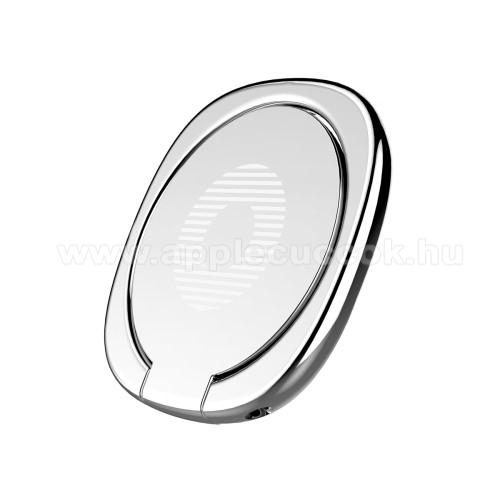 APPLE iPad Pro 9.7 (2016)BASEUS Privity ujjtámasz, gyűrű tartó - Biztos fogás készülékéhez, asztali tartó funkció, 180°-ban forgatható, tapadófelület mágneses autós tartóhoz - EZÜST - GYÁRI