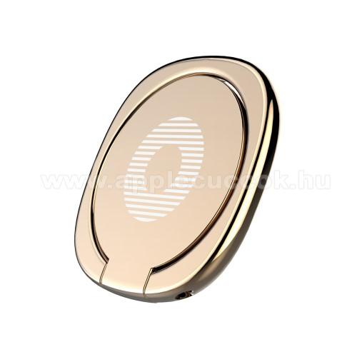APPLE iPhone 8 PlusBASEUS Privity ujjtámasz, gyűrű tartó - Biztos fogás készülékéhez, asztali tartó funkció, 180°-ban forgatható, tapadófelület mágneses autós tartóhoz - ARANY - GYÁRI