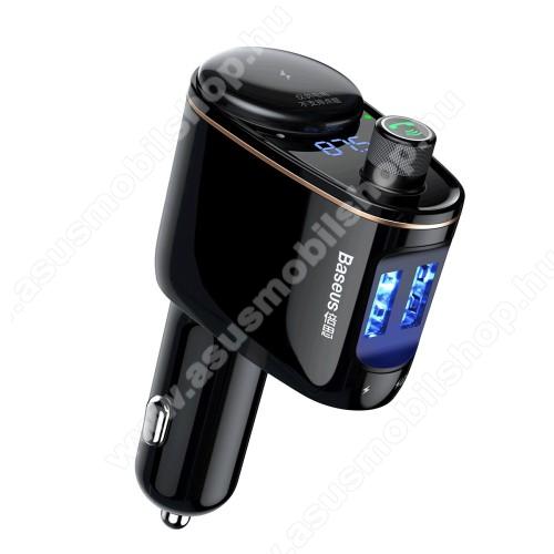 ASUS Zenfone 2 Laser (ZE550KL)BASEUS S-06 BLUETOOTH kihangosító szett - 1x extra szivargyújtó aljzat, szivartöltőbe tehető, FM transmitterrel csatlakozik autórádióra, EXTRA USB töltő aljzatok (max. 3.4A), v4.2, 12V-24V-ról is hazsnálható - FEKETE - GYÁRI