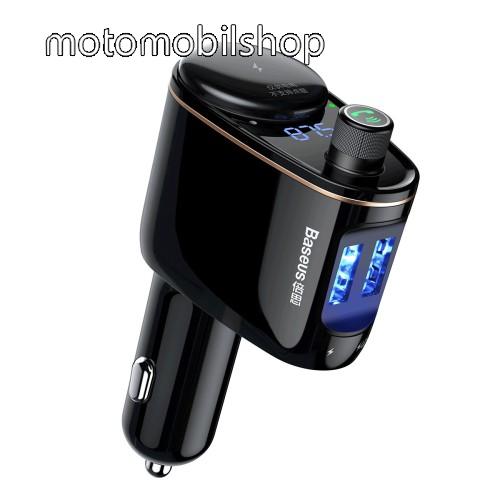 MOTOROLA MPX100 BASEUS S-06 BLUETOOTH kihangosító szett - szivartöltőbe tehető, FM transmitterrel csatlakozik autórádióra, EXTRA USB töltő aljzatok (max. 3.4A), v4.2, 12V-24V-ról is hazsnálható - FEKETE