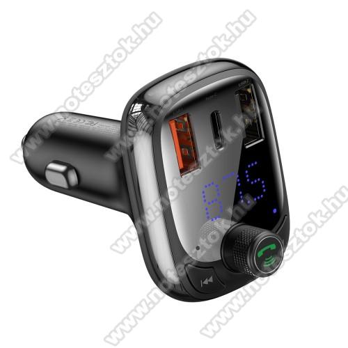 SAMSUNG Galaxy Tab Active Pro (Wi-Fi) (SM-T545)BASEUS S-13 T BLUETOOTH  FM transmitter kihangosító szett - V5.0, gyorstöltés támogatás, kártyaolvasó, EXTRA USB töltő aljzatok, 4.5V/5A, 5V/4.5A, 9V/3A, 12V/2.4A, Type-C port 4.5V/5A, 5V/4.5A, 9V/3A, 12V/2.4A (36W max) - FEKETE - GYÁRI