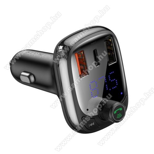 SAMSUNG SGH-U900 SoulBASEUS S-13 T BLUETOOTH  FM transmitter kihangosító szett - V5.0, gyorstöltés támogatás, kártyaolvasó, EXTRA USB töltő aljzatok, 4.5V/5A, 5V/4.5A, 9V/3A, 12V/2.4A, Type-C port 4.5V/5A, 5V/4.5A, 9V/3A, 12V/2.4A (36W max) - FEKETE - GYÁRI
