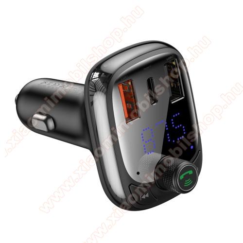 Xiaomi Redmi Note 7BASEUS S-13 T BLUETOOTH  FM transmitter kihangosító szett - V5.0, gyorstöltés támogatás, kártyaolvasó, EXTRA USB töltő aljzatok, 4.5V/5A, 5V/4.5A, 9V/3A, 12V/2.4A, Type-C port 4.5V/5A, 5V/4.5A, 9V/3A, 12V/2.4A (36W max) - FEKETE - GYÁRI