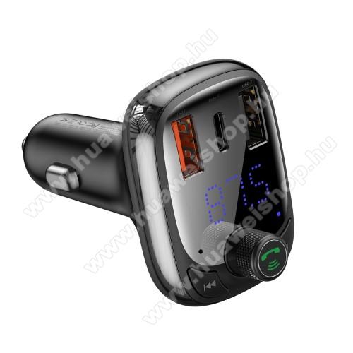 Huawei Ascend P6BASEUS S-13 T BLUETOOTH  FM transmitter kihangosító szett - V5.0, gyorstöltés támogatás, kártyaolvasó, EXTRA USB töltő aljzatok, 4.5V/5A, 5V/4.5A, 9V/3A, 12V/2.4A, Type-C port 4.5V/5A, 5V/4.5A, 9V/3A, 12V/2.4A (36W max) - FEKETE - GYÁRI