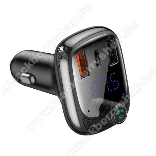 BLACKBERRY Porsche Design P9982BASEUS S-13 T BLUETOOTH  FM transmitter kihangosító szett - V5.0, gyorstöltés támogatás, kártyaolvasó, EXTRA USB töltő aljzatok, 4.5V/5A, 5V/4.5A, 9V/3A, 12V/2.4A, Type-C port 4.5V/5A, 5V/4.5A, 9V/3A, 12V/2.4A (36W max) - FEKETE - GYÁRI