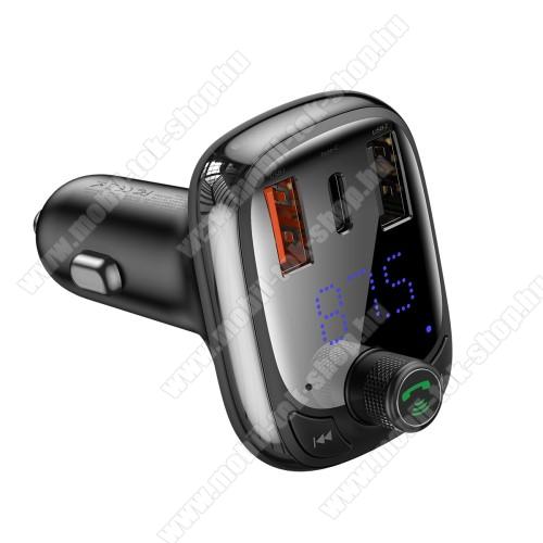 BASEUS S-13 T BLUETOOTH  FM transmitter kihangosító szett - V5.0, gyorstöltés támogatás, kártyaolvasó, EXTRA USB töltő aljzatok, 4.5V/5A, 5V/4.5A, 9V/3A, 12V/2.4A, Type-C port 4.5V/5A, 5V/4.5A, 9V/3A, 12V/2.4A (36W max) - FEKETE - GYÁRI