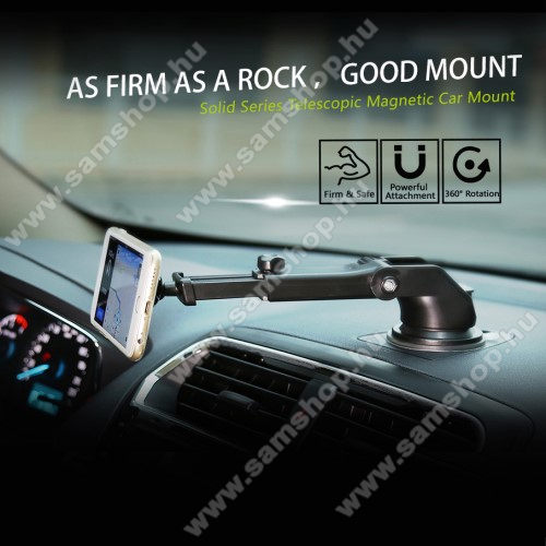 SAMSUNG SM-G920 Galaxy S6BASEUS Solid Series autós tartó / állvány - 360°-ban forgatható, 9,5-14cm-ig állítható teleszkópos kar, mágneses, tapadókorongos - EZÜST - GYÁRI