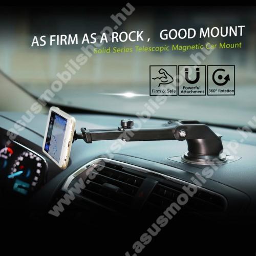 ASUS Zenfone V (V520KL)BASEUS Solid Series autós tartó / állvány - 360°-ban forgatható, 9,5-14cm-ig állítható teleszkópos kar, mágneses, tapadókorongos - EZÜST - GYÁRI