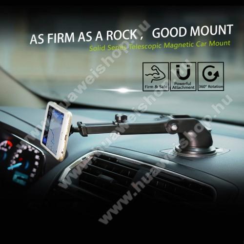 HUAWEI Y MaxBASEUS Solid Series autós tartó / állvány - 360°-ban forgatható, 9,5-14cm-ig állítható teleszkópos kar, mágneses, tapadókorongos - EZÜST - GYÁRI