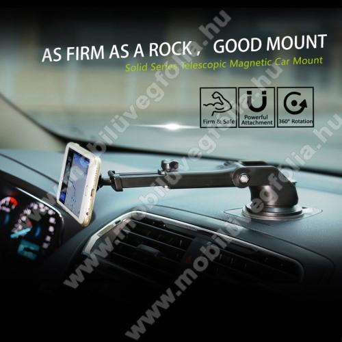 HUAWEI Enjoy 9eBASEUS Solid Series autós tartó / állvány - 360°-ban forgatható, 9,5-14cm-ig állítható teleszkópos kar, mágneses, tapadókorongos - EZÜST - GYÁRI