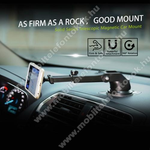 SAMSUNG SM-A905F Galaxy A90BASEUS Solid Series autós tartó / állvány - 360°-ban forgatható, 9,5-14cm-ig állítható teleszkópos kar, mágneses, tapadókorongos - EZÜST - GYÁRI