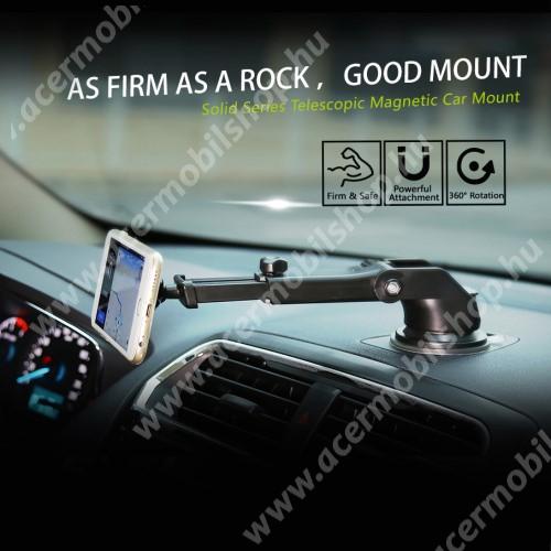 ACER Liquid E2 BASEUS Solid Series autós tartó / állvány - 360°-ban forgatható, 9,5-14cm-ig állítható teleszkópos kar, mágneses, tapadókorongos - EZÜST - GYÁRI