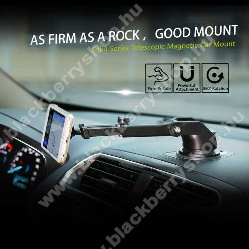 BLACKBERRY 9790 Onyx III.BASEUS Solid Series autós tartó / állvány - 360°-ban forgatható, 9,5-14cm-ig állítható teleszkópos kar, mágneses, tapadókorongos - EZÜST - GYÁRI