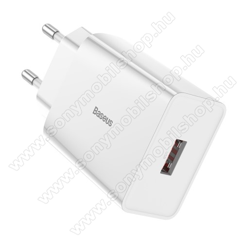 SONY Xperia Z4 CompactBASEUS Speed Mini hálózati töltő - 1 x USB aljzattal, QC3.0, DC 5V/3A 9V/2A 12V/1.5A Max., 18W gyorstöltés támogatás - FEHÉR - GYÁRI