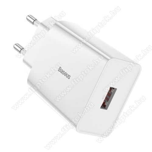 Huawei Enjoy 10BASEUS Speed Mini hálózati töltő - 1 x USB aljzattal, QC3.0, DC 5V/3A 9V/2A 12V/1.5A Max., 18W gyorstöltés támogatás - FEHÉR - GYÁRI