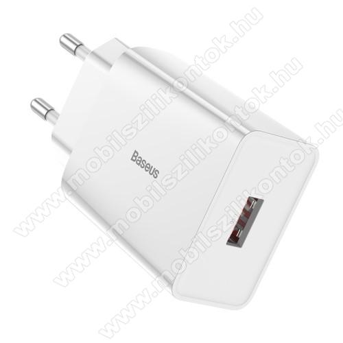 BASEUS Speed Mini hálózati töltő - 1 x USB aljzattal, QC3.0, DC 5V/3A 9V/2A 12V/1.5A Max., 18W gyorstöltés támogatás - FEHÉR - GYÁRI