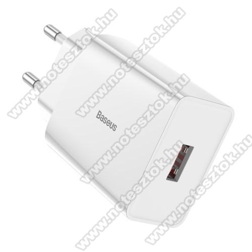 SAMSUNG Galaxy S10 Lite (SM-G770F)BASEUS Speed Mini hálózati töltő - 1 x USB aljzattal, QC3.0, DC 5V/3A 9V/2A 12V/1.5A Max., 18W gyorstöltés támogatás - FEHÉR - GYÁRI