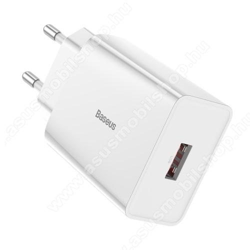ASUS Zenfone Max Plus (M2) (ZB634KL)BASEUS Speed Mini hálózati töltő - 1 x USB aljzattal, QC3.0, DC 5V/3A 9V/2A 12V/1.5A Max., 18W gyorstöltés támogatás - FEHÉR - GYÁRI