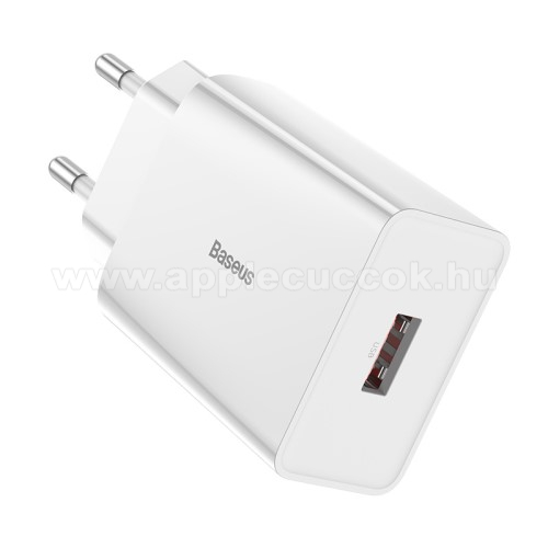 APPLE iPad Pro 12.9 (2020)BASEUS Speed Mini hálózati töltő - 1 x USB aljzattal, QC3.0, DC 5V/3A 9V/2A 12V/1.5A Max., 18W gyorstöltés támogatás - FEHÉR - GYÁRI