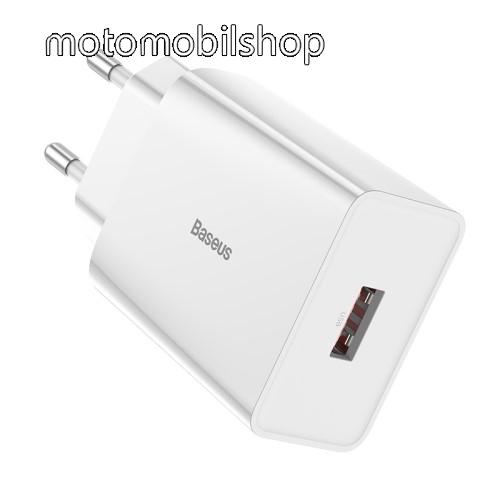 MOTOROLA Moto E6 Play (XT2029) BASEUS Speed Mini hálózati töltő - 1 x USB aljzattal, QC3.0, DC 5V/3A 9V/2A 12V/1.5A Max., 18W gyorstöltés támogatás - FEHÉR - GYÁRI