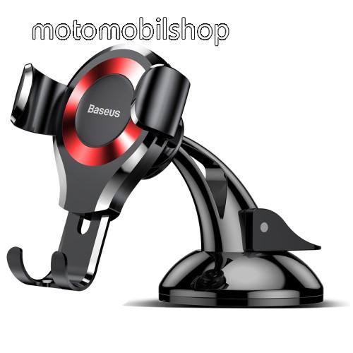 BASEUS Suction Cup Gravity univerzális autós / gépkocsi tartó - PIROS - tapadókorongos, szélvédőre vagy műszerfalra rögzíthető, 63-88 mm-ig állítható bölcső - GYÁRI