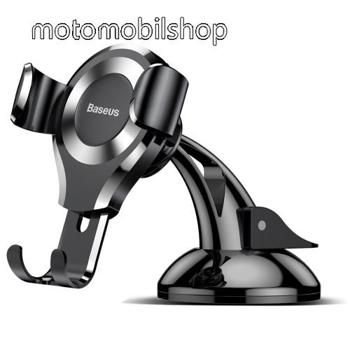 BASEUS Suction Cup Gravity univerzális autós / gépkocsi tartó - EZÜST - tapadókorongos, szélvédőre vagy műszerfalra rögzíthető, 63-88 mm-ig állítható bölcső - GYÁRI