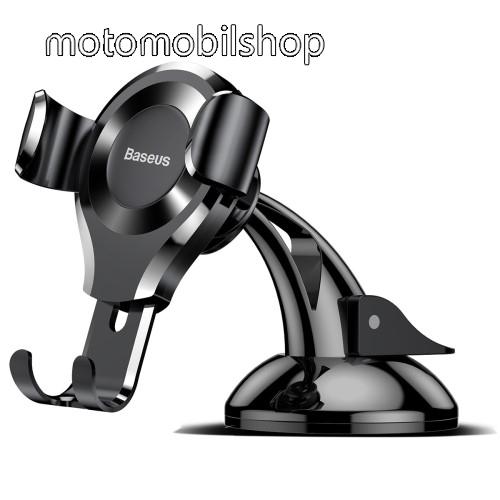 MOTOROLA Wilder (EX130) BASEUS Suction Cup Gravity univerzális autós / gépkocsi tartó - FEKETE - tapadókorongos, szélvédőre vagy műszerfalra rögzíthető, 63-88 mm-ig állítható bölcső - GYÁRI