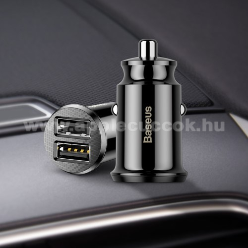 BASEUS szivargy�jt�s t�lt? / aut�s t�lt? - 2 x USB aljzat, 5V / 3.1A, k�bel N�LK�L! - FEKETE - GY�RI