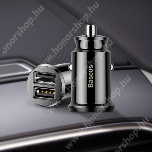 HUAWEI Honor 9 BASEUS szivargyújtós töltő / autós töltő - 2 x USB aljzat, 5V / 3.1A, kábel NÉLKÜL! - FEKETE - GYÁRI