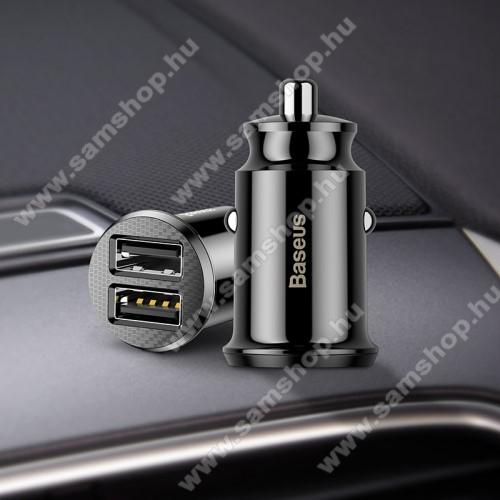 SAMSUNG SM-G386F Galaxy Core LTEBASEUS szivargyújtós töltő / autós töltő - 2 x USB aljzat, 5V / 3.1A, kábel NÉLKÜL! - FEKETE - GYÁRI