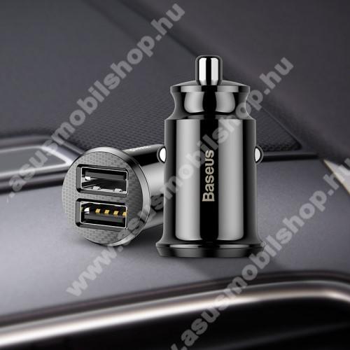 ASUS Zenfone 3 Laser (ZC551KL)BASEUS szivargyújtós töltő / autós töltő - 2 x USB aljzat, 5V / 3.1A, kábel NÉLKÜL! - FEKETE - GYÁRI
