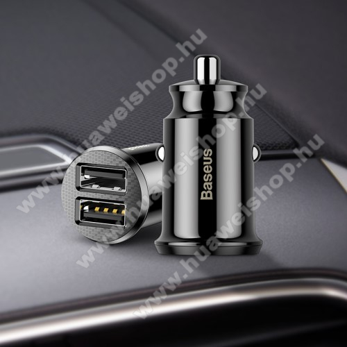 HUAWEI Honor Play 8ABASEUS szivargyújtós töltő / autós töltő - 2 x USB aljzat, 5V / 3.1A, kábel NÉLKÜL! - FEKETE - GYÁRI