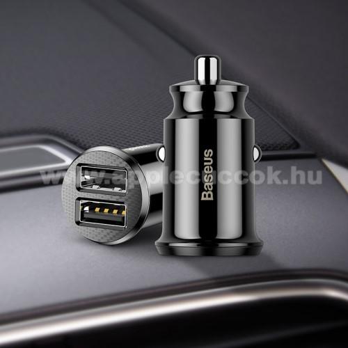 APPLE iPad 9.7 (2018)BASEUS szivargyújtós töltő / autós töltő - 2 x USB aljzat, 5V / 3.1A, kábel NÉLKÜL! - FEKETE - GYÁRI