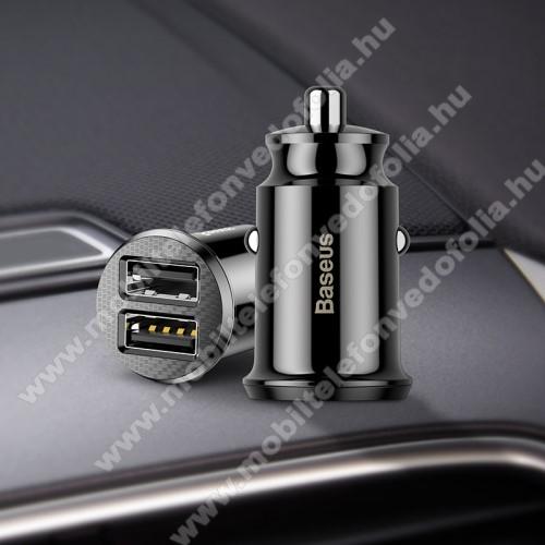 NOKIA 7.1BASEUS szivargyújtós töltő / autós töltő - 2 x USB aljzat, 5V / 3.1A, kábel NÉLKÜL! - FEKETE - GYÁRI