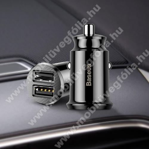 NOKIA X71BASEUS szivargyújtós töltő / autós töltő - 2 x USB aljzat, 5V / 3.1A, kábel NÉLKÜL! - FEKETE - GYÁRI