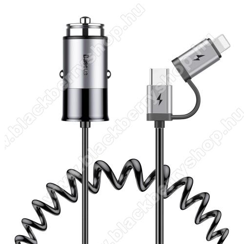 BASEUS szivargyújtós töltő / autós töltő - SZÜRKE - Type-C / Lightning, spirál kábel max 1,2m, 5V/2.4A, EXTRA USB aljzat - GYÁRI