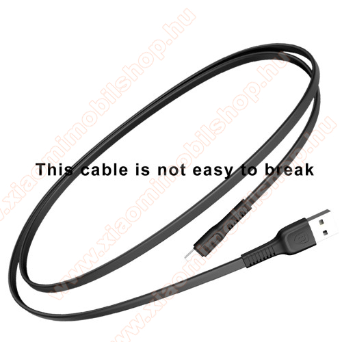 Xiaomi Black Shark 3 ProBASEUS Tough Series adatátviteli kábel és USB töltő - FEKETE - 2A, Type-C / USB, 1m, lapos kábelkivitel - GYÁRI