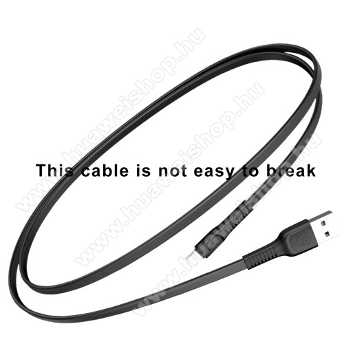 BASEUS Tough Series adatátviteli kábel és USB töltő - FEKETE - 2A, Type-C / USB, 1m, lapos kábelkivitel - GYÁRI