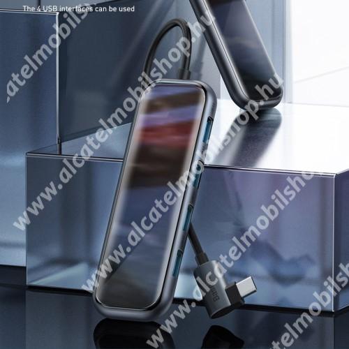 BASEUS Type-C USB elosztó -  4x USB3.0 + 1x Type-C PD port, 5 Gbps átviteli sebesség, edzett üveg panel, max 60W!, töltésjelző, gyorstöltés támogatás, Type-C port: 20V/3A max, USB port: 5V/1.5A - SÖTÉTSZÜRKE - UCN3274 - GYÁRI
